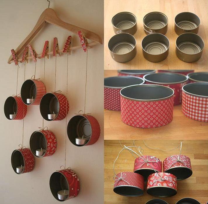 Candelabro de pared con latas home made by hands - Candelabros de pared ...