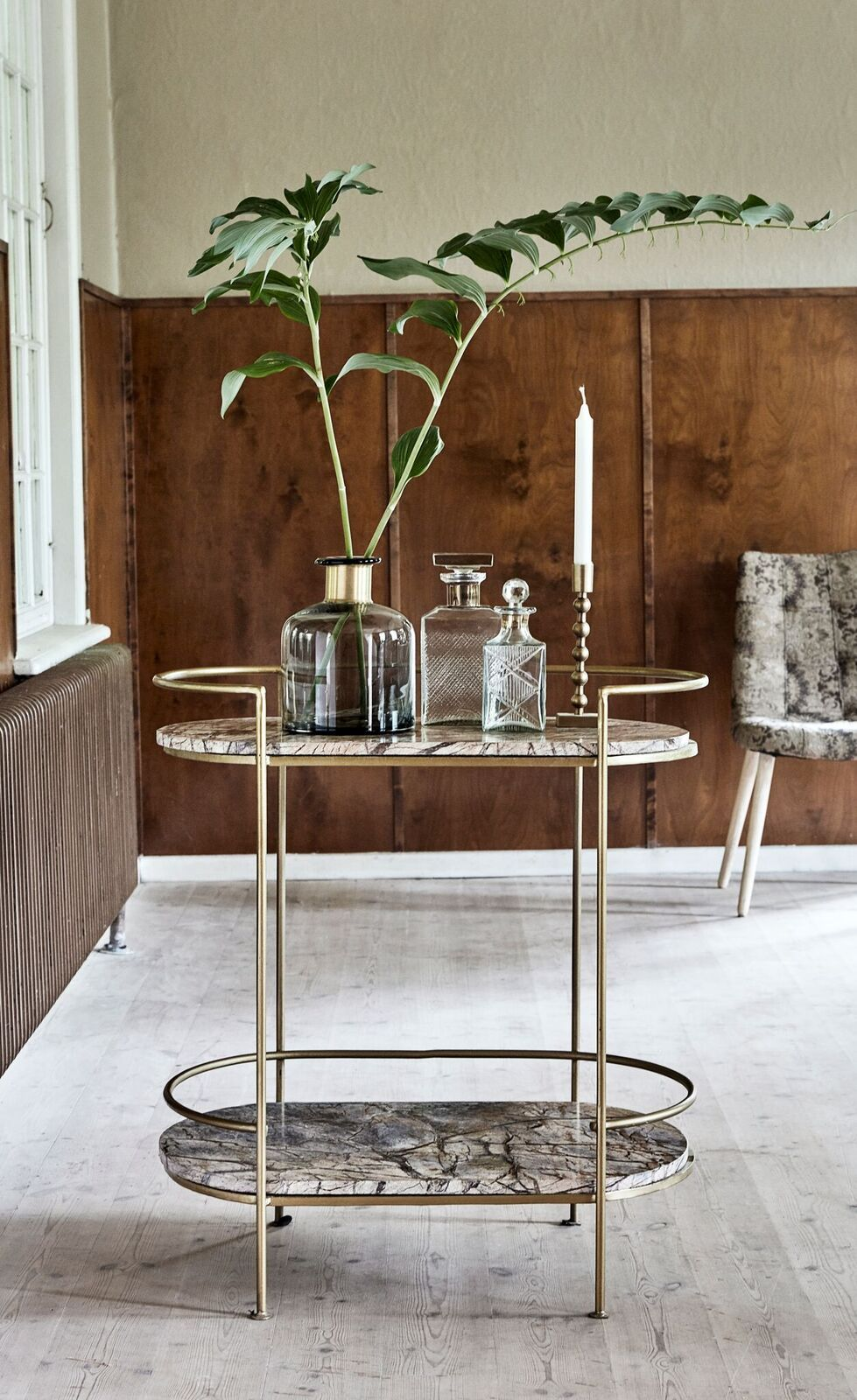 Nordal Sidetable Jungle ovaal goud 80x74x48  Exhibition
