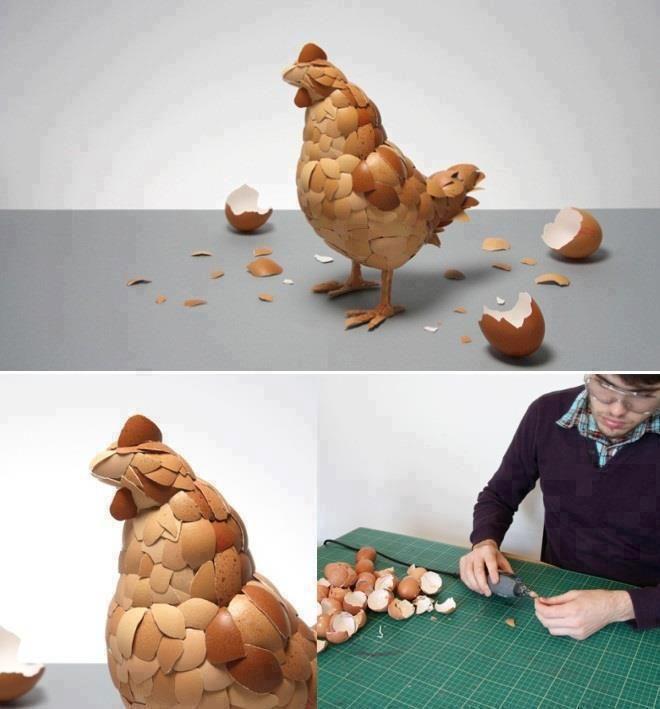 Escultura con cáscaras de huevos.