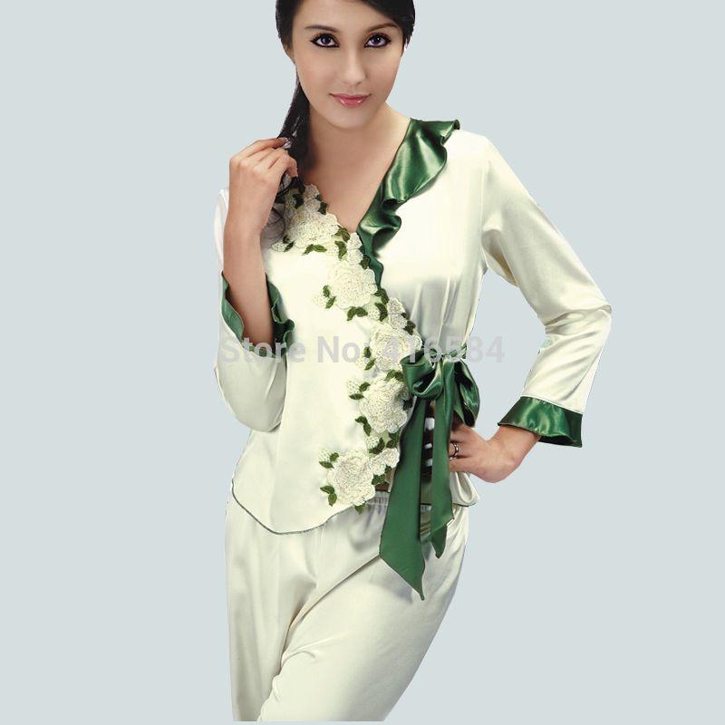 645877eabf Elegant Female Satin Pijama Set Womens Pajamas Silk Sheer Satin Pajamas  Embroidered White Rose and Green Leaf Collar Belt