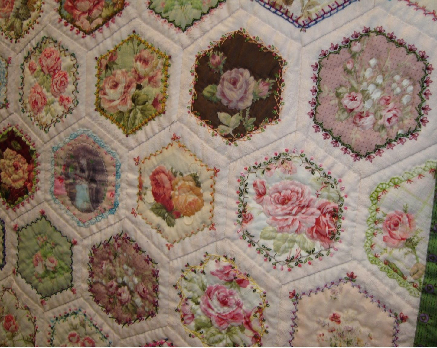 This may just be it!  Love this!   ///////   fussy cut hexagons with embroidery