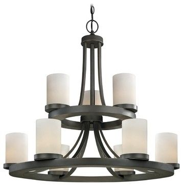 Two Tier Candle Chandelier With Nine Lights In Bronze Finish 161 78 Modern