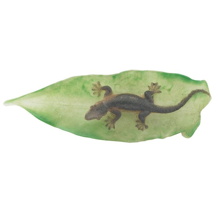 Almeric Walter paperweight, realistic lizard on a leaf, green, brown and frosted pate-de-verre glass.