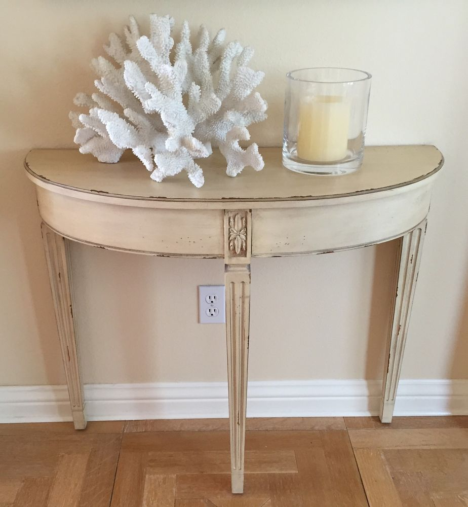 New Ethan Allen French Demilune Console Table Ebay Console Table Table Living Room Chairs