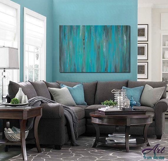Large Teal Gray Wall Art Abstract Canvas Art Blue Green Etsy Teal Living Rooms Teal Grey Living Room Living Room Turquoise