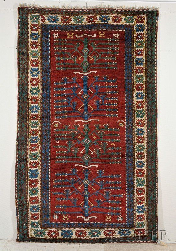 """""""Tree"""" Kazak Long Rug, Southwest Caucasus, late 19th/early 20th century, (small rewoven areas in one corner, small creases, black corrosion), 9 ft. 9 in. x 6 ft. Sold for $6000 in Dec 2009"""