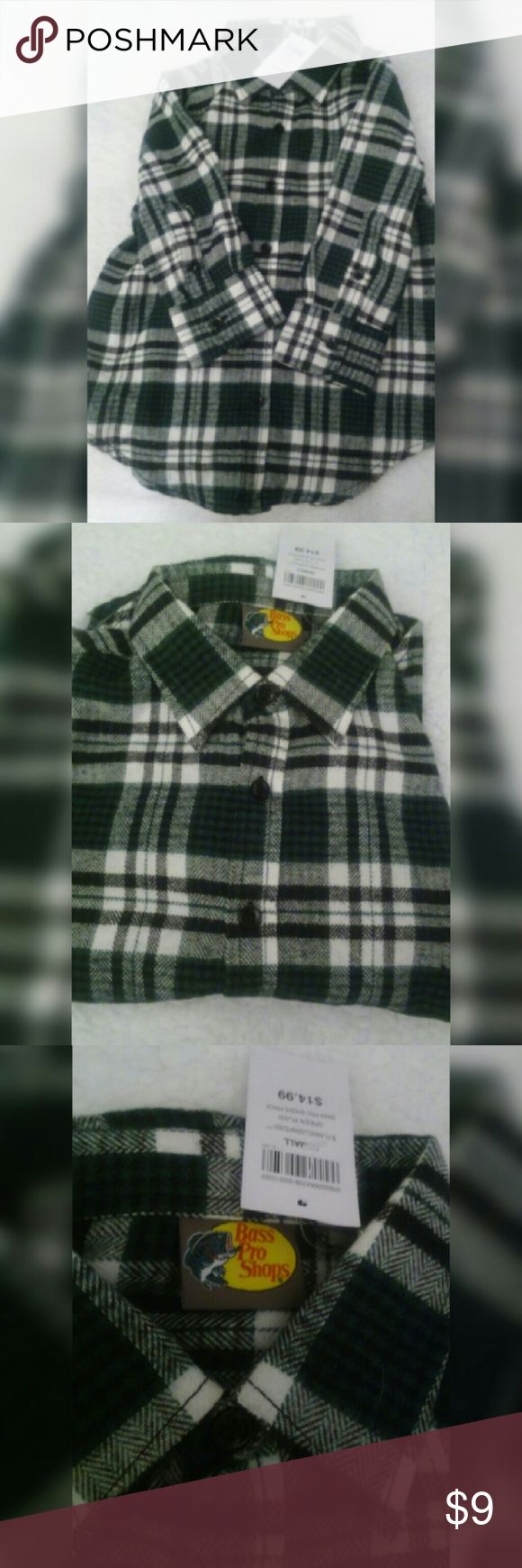 Boy Flannel green plaid Color green plaid Size XSmall New Brass Pro Shop Shirts & Tops Tees - Long Sleeve