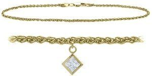 14K Yellow Gold 10 Inch Wheat Anklet with Genuine White Topaz Square Charm Elite Jewels. $229.50