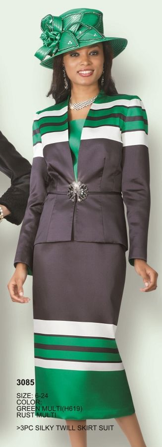 Lily and Taylor 3085 Womens 3pc Church Suit-  Silky twill women's church suit.