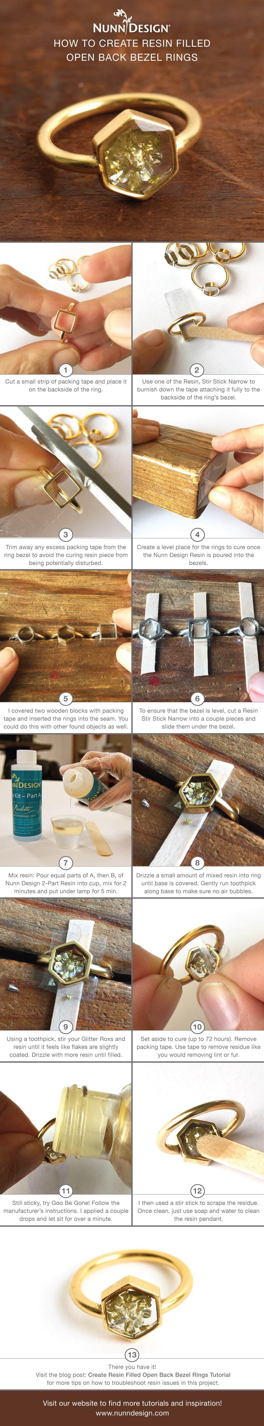 Create Resin Filled Open Back Bezel Rings Tutorial | Jewelry ideas