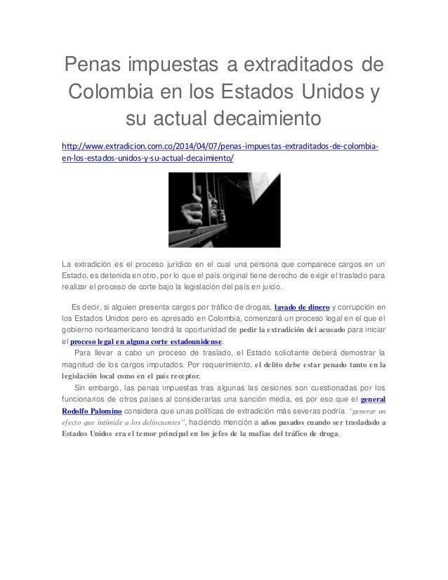 Penas impuestas a extraditados de Colombia en los Estados Unidos y su actual decaimiento
