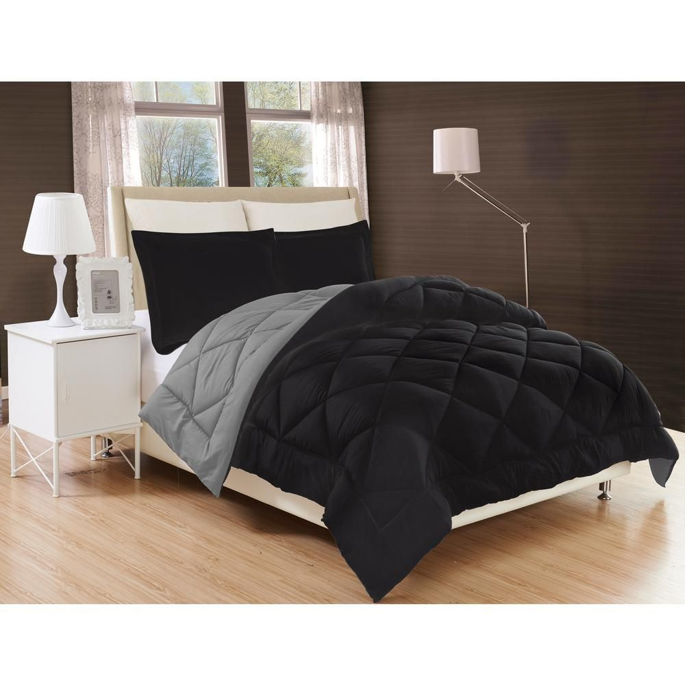 Elegant Comfort 3 Piece Black Gray Full Queen Comforter Set