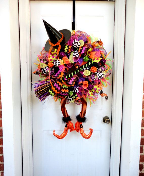 raz with boots wicked witch wreath halloween mesh wreath halloween decor made to order witch leg and witch hat wreath - Raz Halloween Decorations