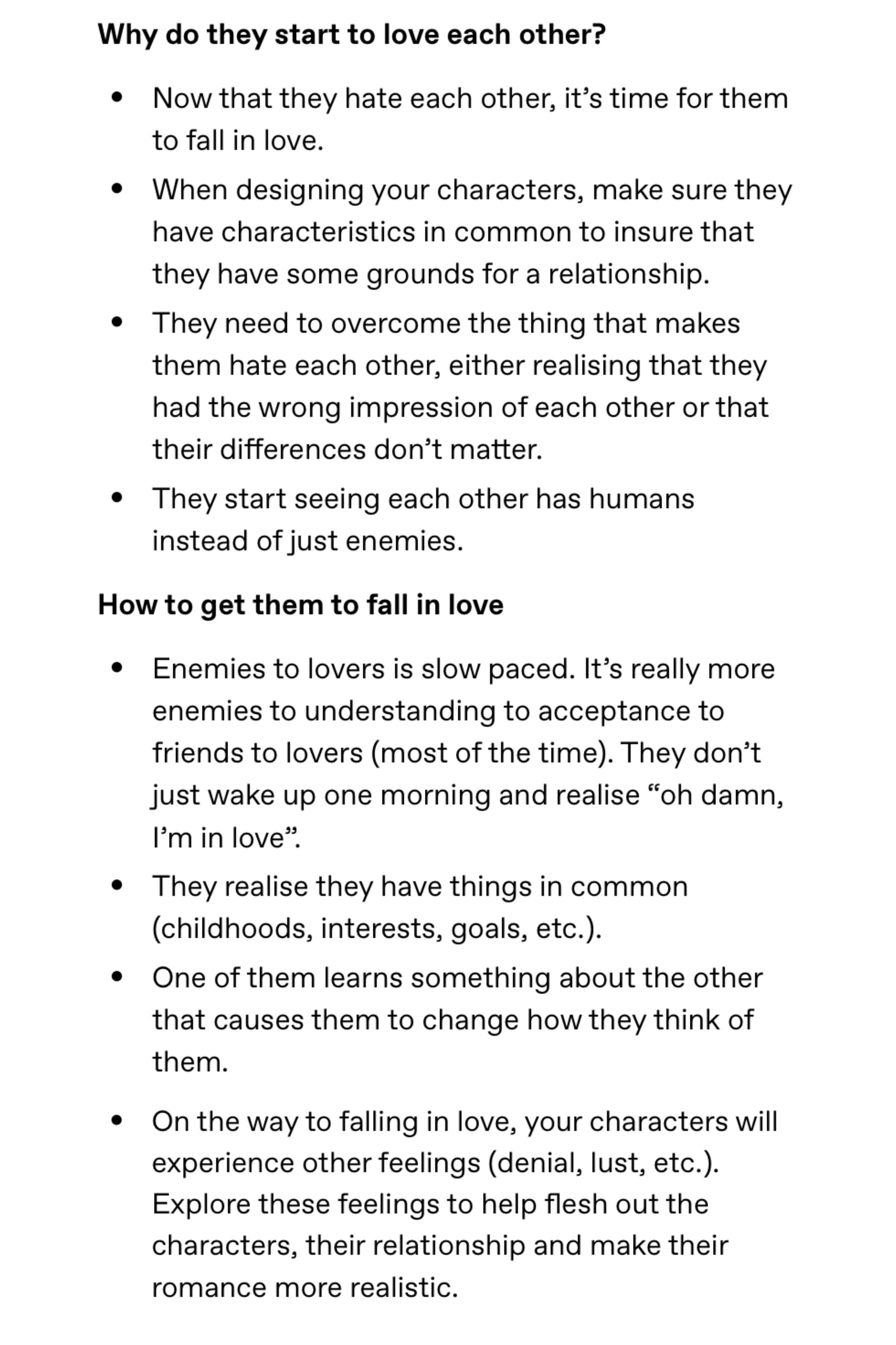Advice For Writing Enemies to Lovers