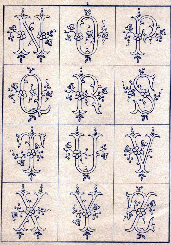 Iniziali Alfabeto Fiori Cifre Da Ricamare Writings Pinterest