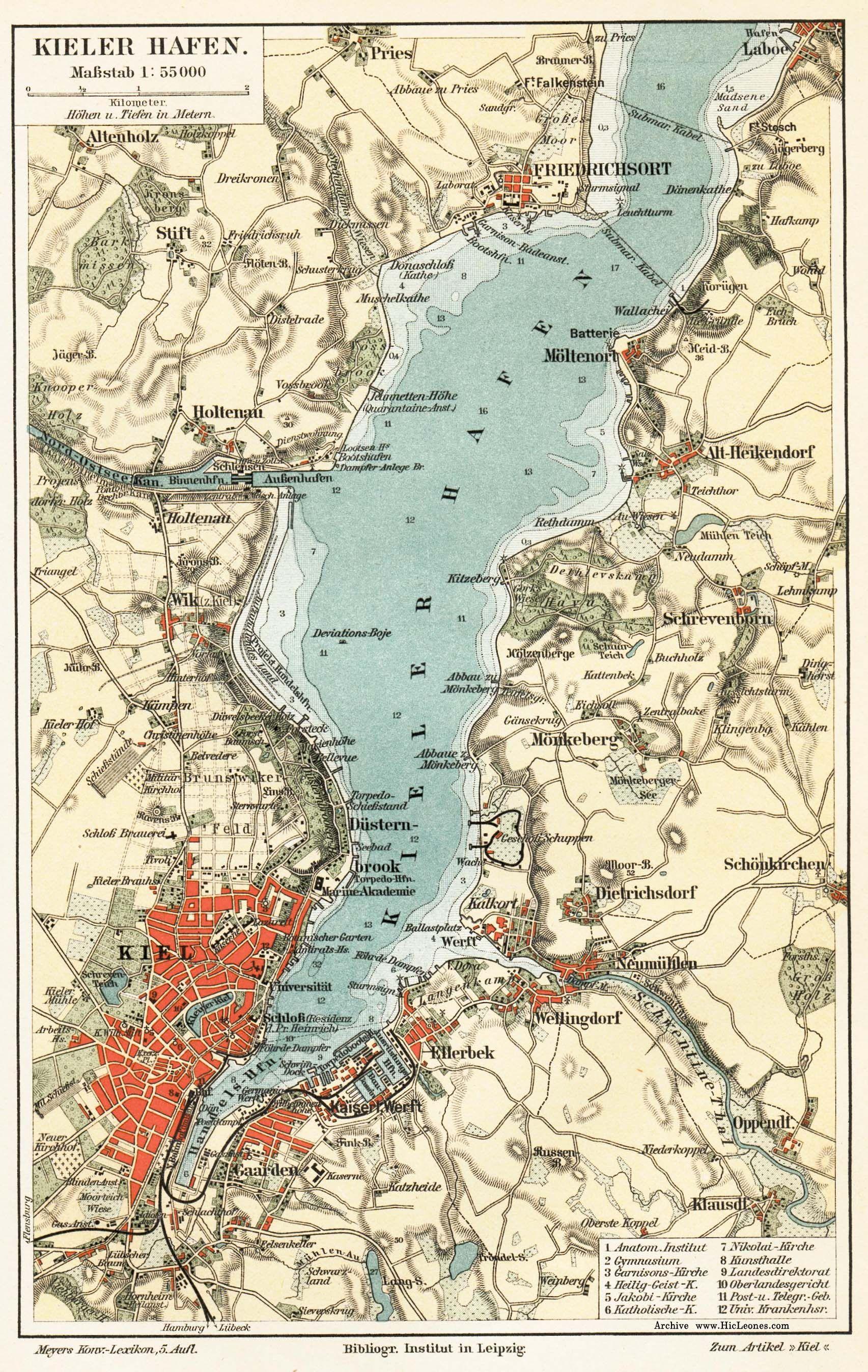Map Kiel Kiel Kieler Forde Flensburg