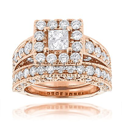 This Princess Cut Round Diamond Engagement Ring Wedding Band Set showcases total 3.5 carats of dazzling diamonds: 1/2 center princess cut diamond and 3 carats of round diamonds around it. This womens diamond wedding ring set available in 14K white gold, yellow gold and rose gold. This ring set can be customized in 18K gold or platinum, with any size, color and quality diamonds. Please contact us at 212-398-3123 if desired options not listed.