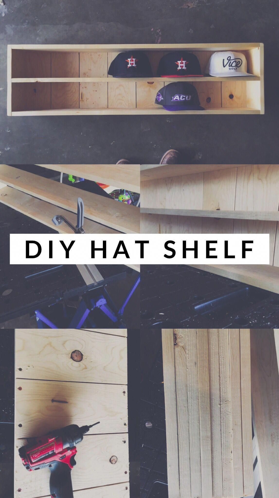 Get free plans for this easy woodworking project.  Store all your hats on display with this cool shelf.  #homedecor #diy #smallwoodworkingprojectspallets