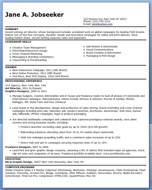 Resume For an Art Director Creative Resume Design Templates Word - Packaging Sales Sample Resume