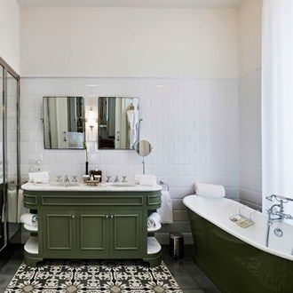 Pair Avocado With Crisp White Walls And Gleaming Chrome Fixtures