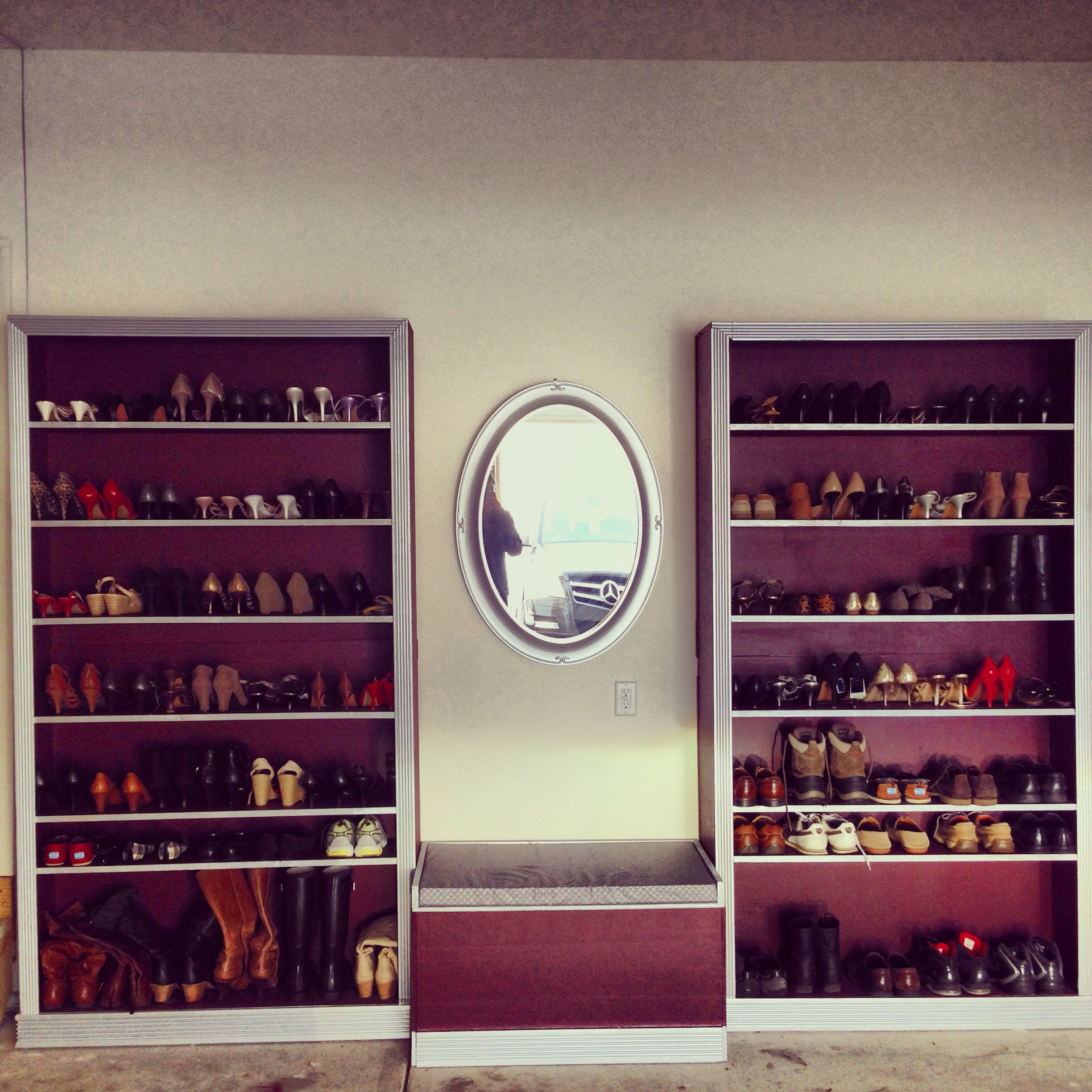 DIY shoe rack. Organize your shoes with a simple customized shoe rack. Choose your paint, fabric, and trim!