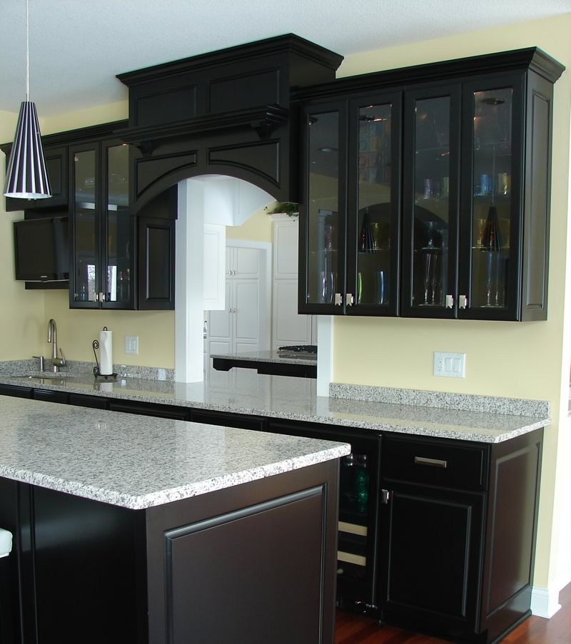 Black And White Modern Kitchen Designs : White Granite Countertops With  Black Cabinets