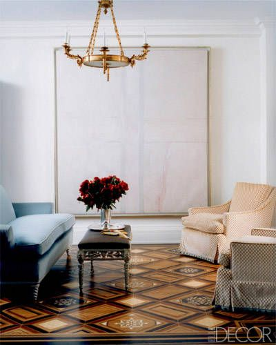 Empire chandelier... stunning flooring | Emma Jane Pilkington | Elle Decor