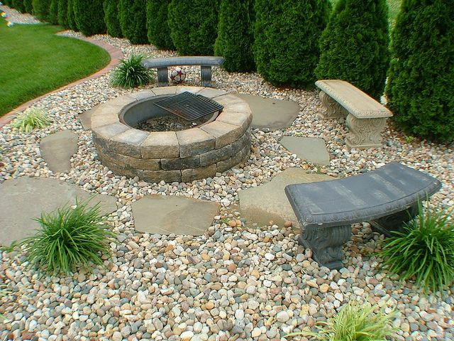 Fire Pit And Sitting Rocked Area Landscape Fire Pit