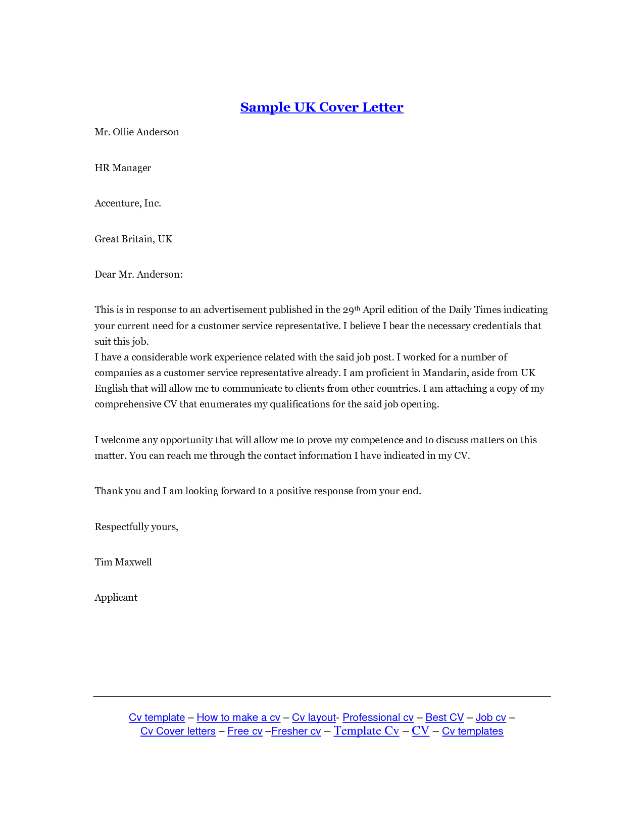 Email Cover Letter Template Uk Cover letter template