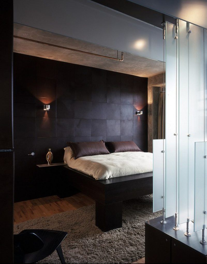 couleur-chambre-moderne-panneau-mural-pixélisé-marron-sombre-lit