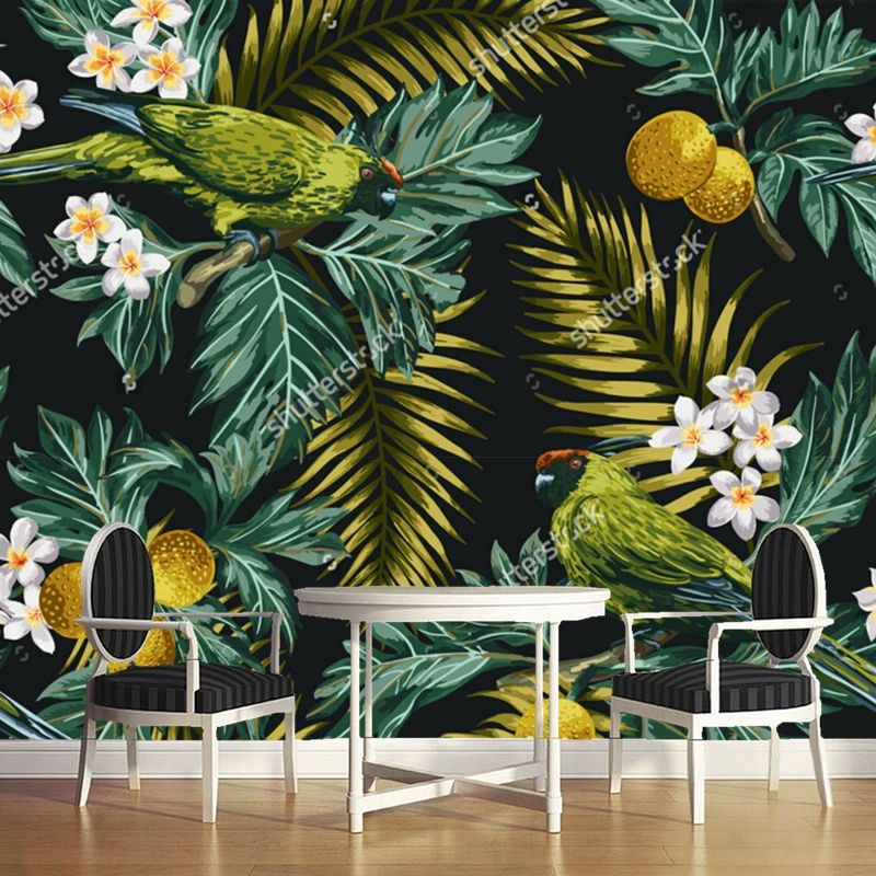 Restaurant Kitchen Wallpaper flower wallpaper,tropical leaves, flowers and parrot,3d photo