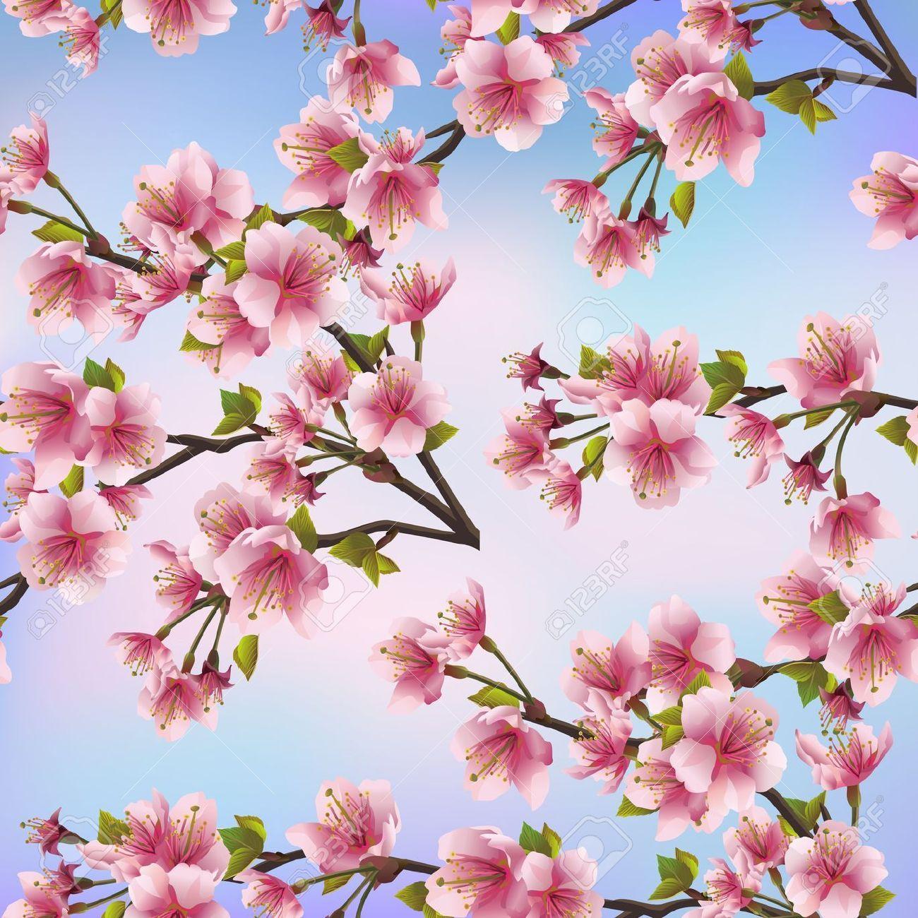Background Seamless Pattern With Sakura Tree Beautiful Japanese Sakura Tree Japanese Cherry Tree Japanese Background