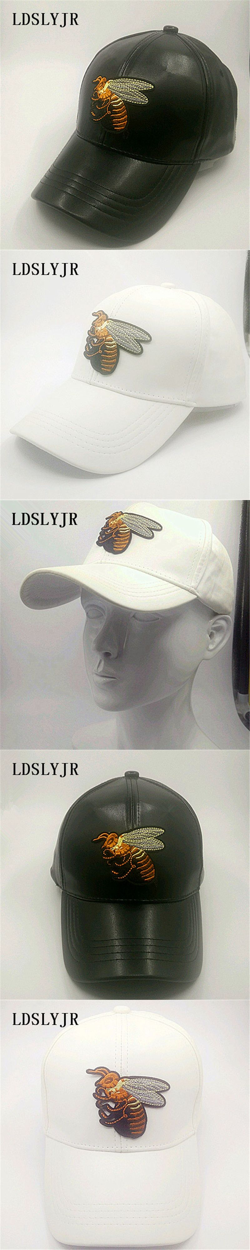 187d38b8 LDSLYJR 2017 leather Queen bee embroidery Adjustable Baseball cap travel  hats for men and women 751