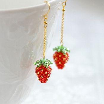 Beaded Strawberries Earrings Unique Beaded Jewelry Beaded