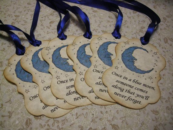 Items Similar To Blue Moon Gift Tag Once In A Baby Shower Favor Party Wedding Wish