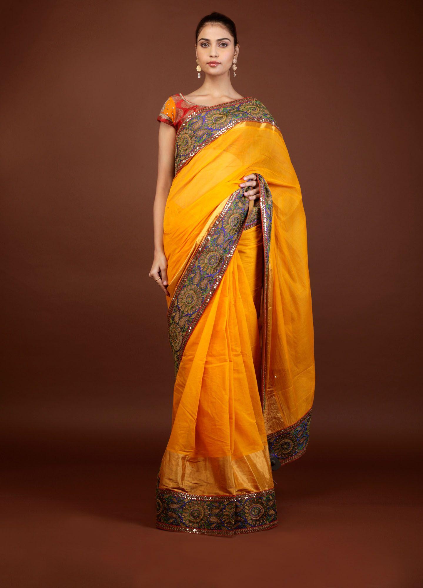 9c3ab21fdc Sabyasachi Yellow Cotton saree with blue and green border   Wedding ...