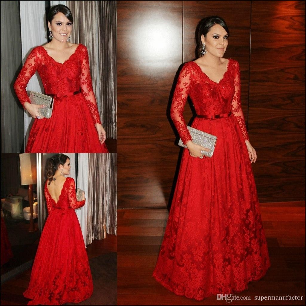 Red lace long sleeve gown wedding dresses etc pinterest long