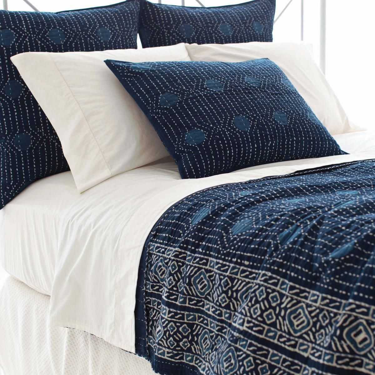 Pine Cone Hill   Resist Dot Indigo Coverlet   Inspired By Traditional  Indian Kantha Quilts,