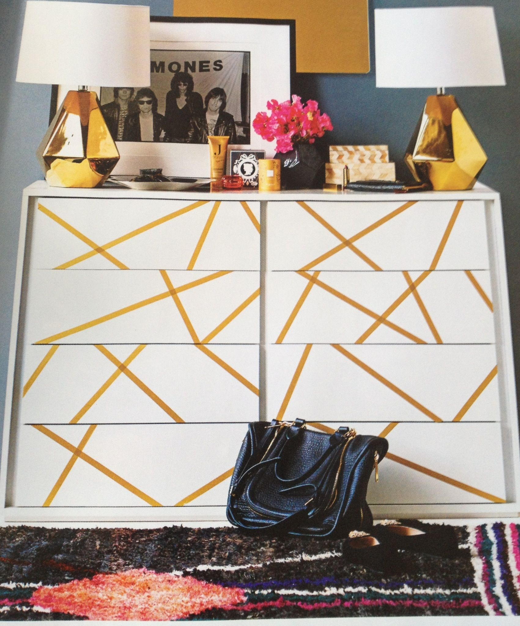 Exceptionnel Easy And Cheap Way To Decorate Your Boring Furniture With Washi Tape And  Make It Look