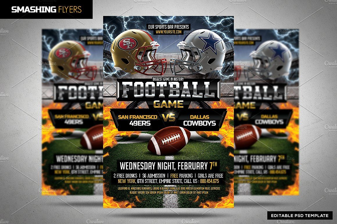 American Football Flyer Template  American Football And Flyer