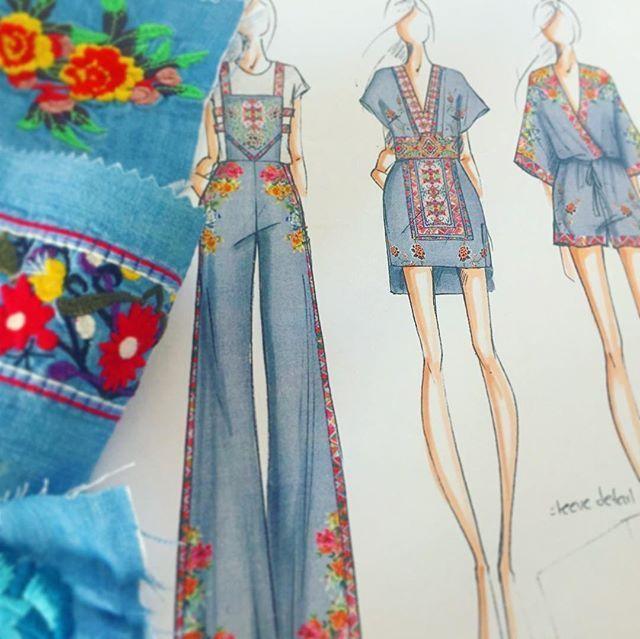 Embroidered denim sketching