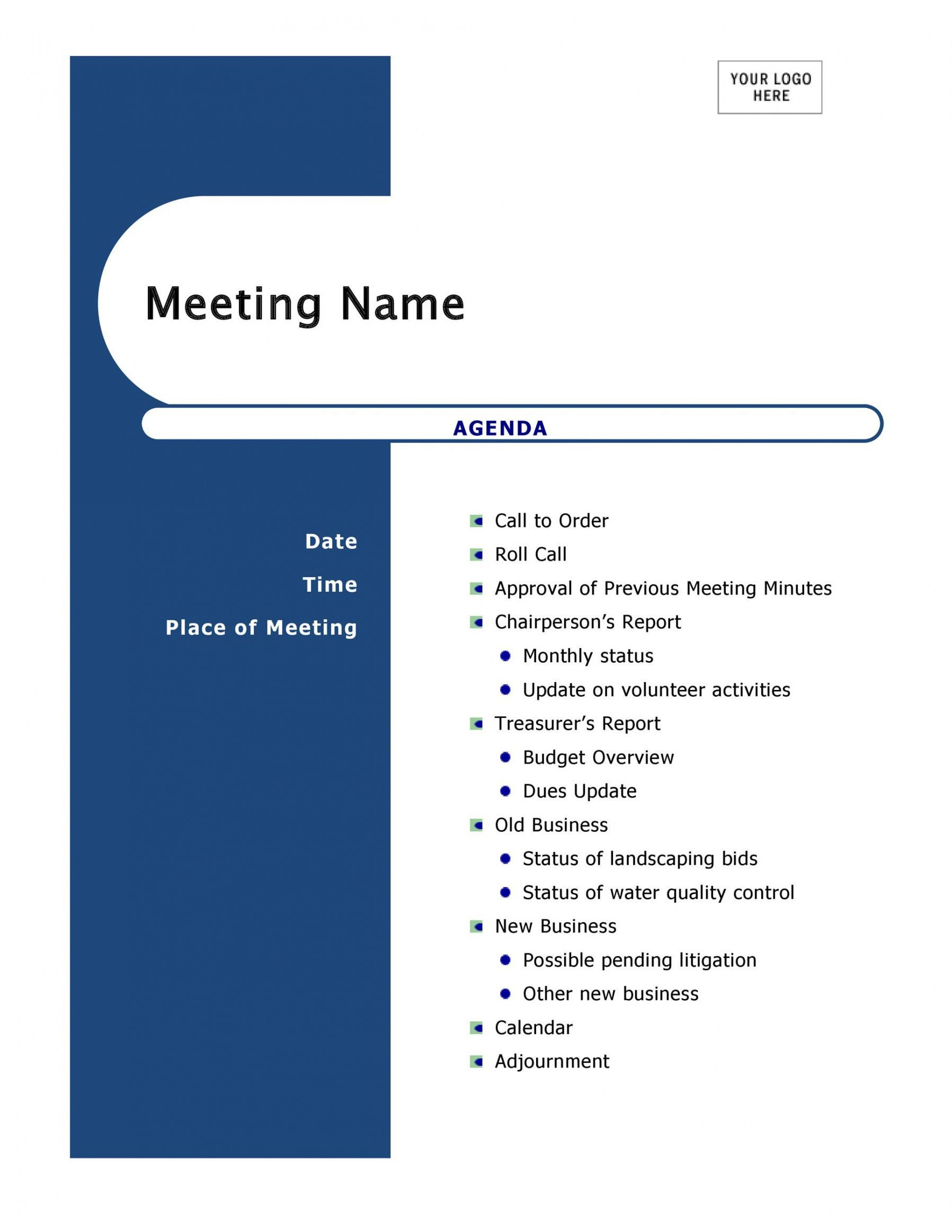 printable 46 effective meeting agenda templates