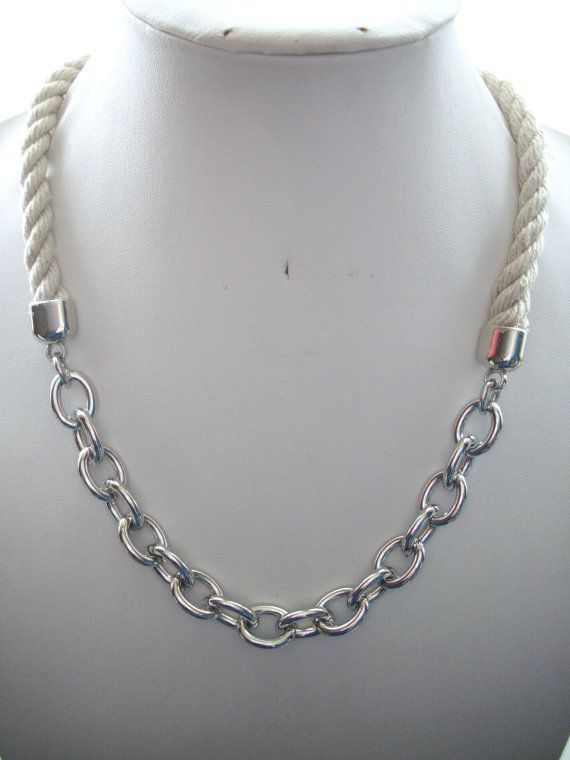 10mm Natural Twisted Rope And Chunky Silver Chain Necklace Silver Chain Necklace Chain Natural Twists