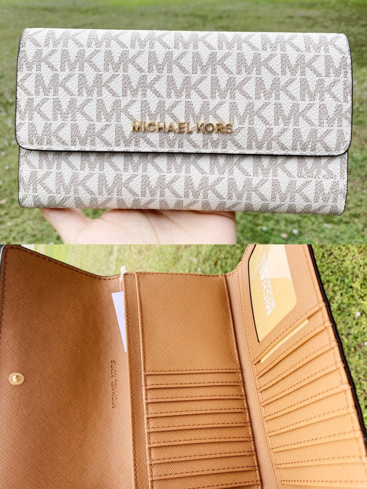 1fad1a2381ead2 Michael Kors Jet Set Travel PVC Large Trifold Wallet Vanilla MK Acorn #eBay  #amazon #posher #toprated #ebaystore #poshpackages #ebaybusiness #GabysBags  ...
