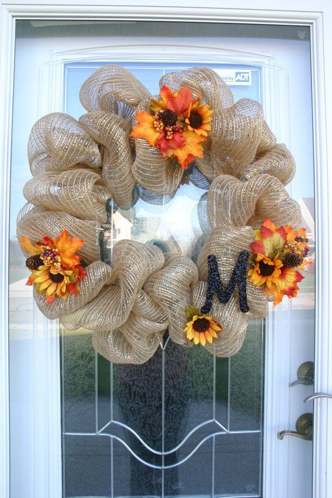 Fall Deco Mesh Wreath MM#72