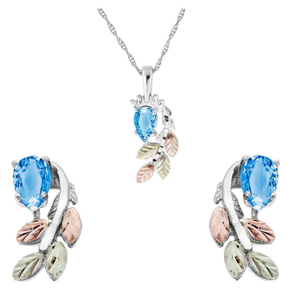 Sterling silver pear cut blue topaz earrings u pendant set black