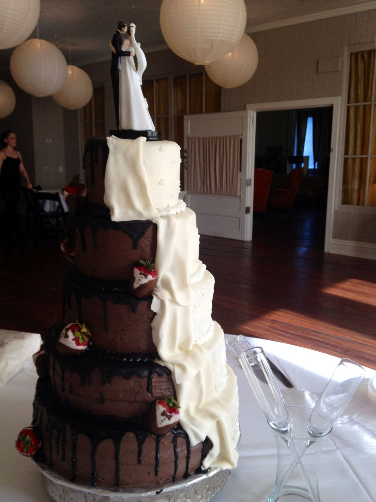 """Half & Half"" 4 tier wedding cake in buttercream and"