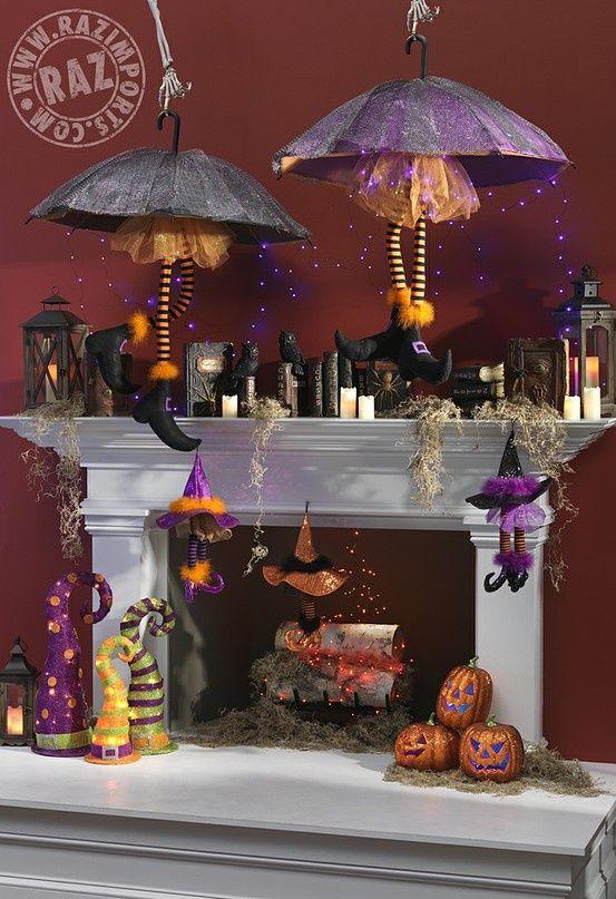 raz halloween mantel with spell books witch legs witch hats string lights - Halloween Mantel Decorations
