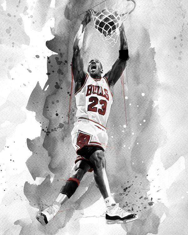 Artist david mahoney captures michael jordan throwing down a wicked 2 handed jam while rocking the historic home white chicago bulls jersey and the iconic