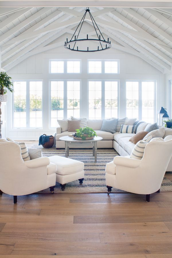Lake House living room decor featuring white